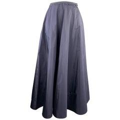 RALPH LAUREN Size 10 Navy Beaded Silk Taffeta Ball Skirt
