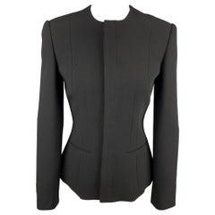 RALPH LAUREN Size 2 Black Wool Hidden Button Jacket