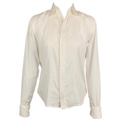 RALPH LAUREN Size 2 White Ribbed Cotton French Cuffs Blouse