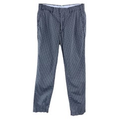 RALPH LAUREN Size 28 Navy Anchor Print Cotton Zip Fly Casual Pants
