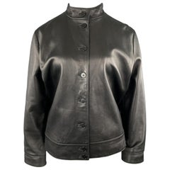 RALPH LAUREN Size 2XL Black Leather Band Collar Jacket
