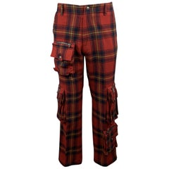 RALPH LAUREN Size 30 Red Plaid Wool Patch Cargo Pocket Pants
