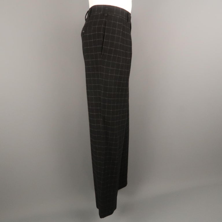 RALPH LAUREN Size 34 Black & Grey Window Pane Cashmere 31 Pleated Dress Pants In Excellent Condition For Sale In San Francisco, CA