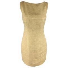 RALPH LAUREN Size 4 Beige & Gold Metallic Linen Blend Shift Dress