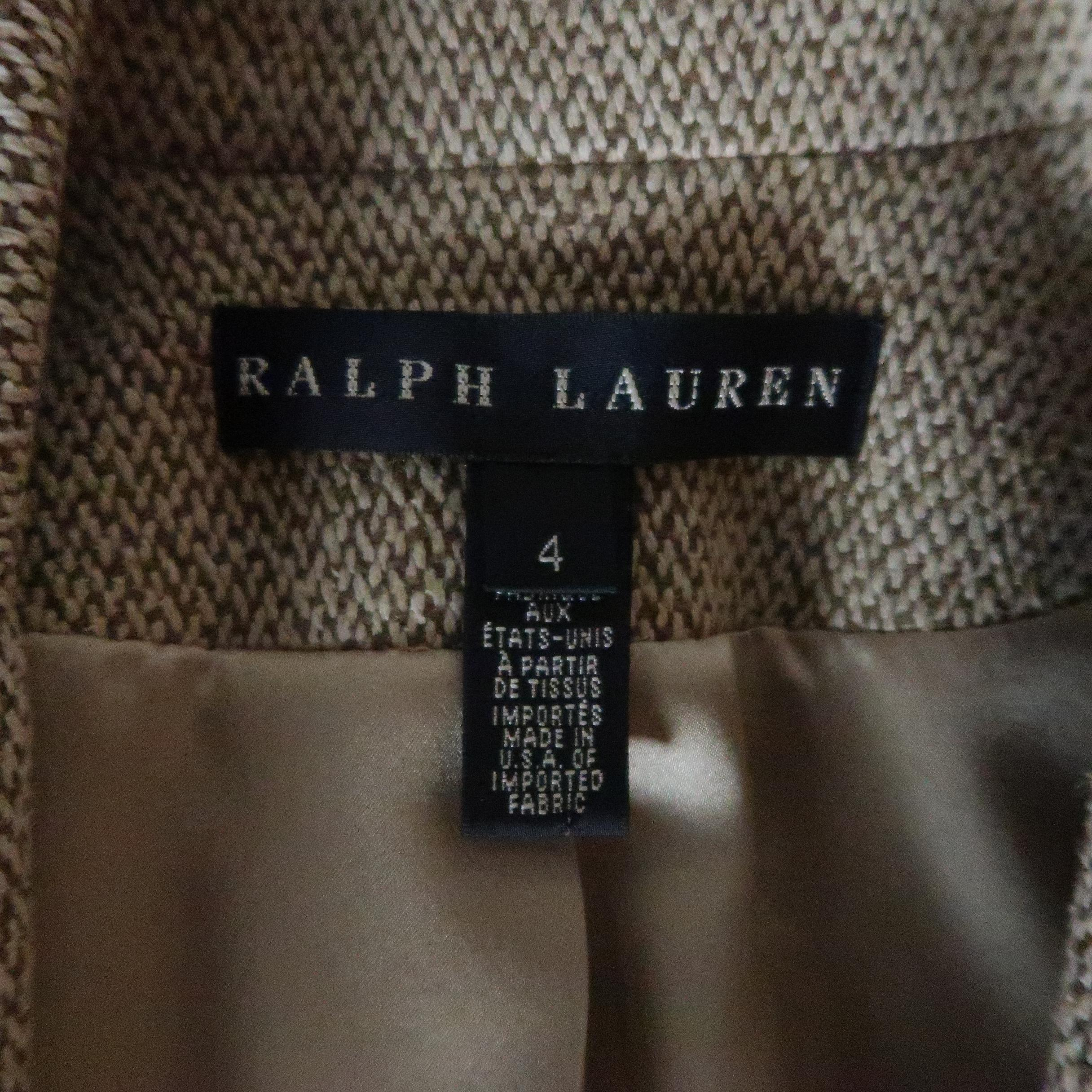 3c05743ea1 RALPH LAUREN Size 4 Beige Silk Wool Tweed Equestrian Jacket For Sale at  1stdibs