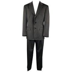 RALPH LAUREN Size 40 Regular Black Stripe Wool Notch Lapel Suit