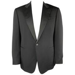 RALPH LAUREN Size 42 Black Wool Satin Peak Lapel Tuxedo Sport Coat