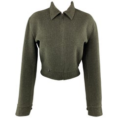 RALPH LAUREN Size 6 Olive Wool Blend Cropped Collared Jacket