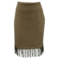 RALPH LAUREN Size 6 Olive Wool / Cashmere Tweed Fringe Skirt
