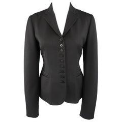 RALPH LAUREN Size 8 Black Notch Lapel 9 Button Sport Jacket