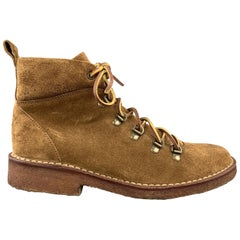 RALPH LAUREN Size 8 Brown Suede Lace Up Crepe Sole Boots