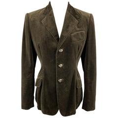 RALPH LAUREN Size 8 Brown Velvet Three Button Blazer