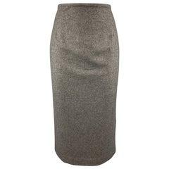 RALPH LAUREN Size 8 Charcoal Cashmere Blend Longline Pencil Skirt