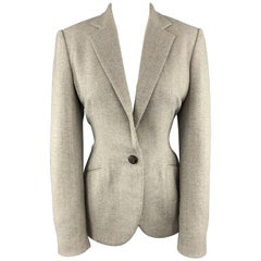 RALPH LAUREN Size 8 Gray Herringbone Wool Single Button Blazer