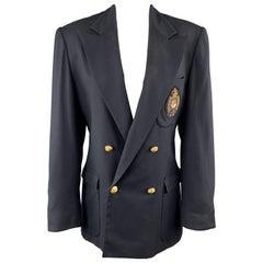 RALPH LAUREN Size 8 Navy Wool Double Breasted Crest Patch Blazer