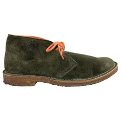RALPH LAUREN Size 8.5 Forest Green Suede Lace Up Boots