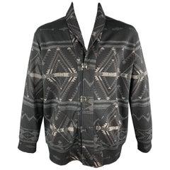 RALPH LAUREN Size L Black Print Cotton Blend Shawl Collar Hook & Eye Jacket
