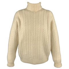 RALPH LAUREN Size L Cream Cashmere Cableknit Rolled Turtleneck Sweater