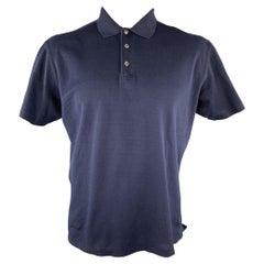 RALPH LAUREN Size L Navy Cotton Buttoned Polo