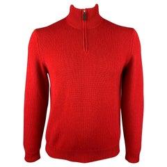 RALPH LAUREN Size L Red Knitted Cashmere Half Zip Pullover