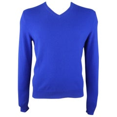 RALPH LAUREN Size L Royal Blue Cashmere V Neck Pullover Sweater