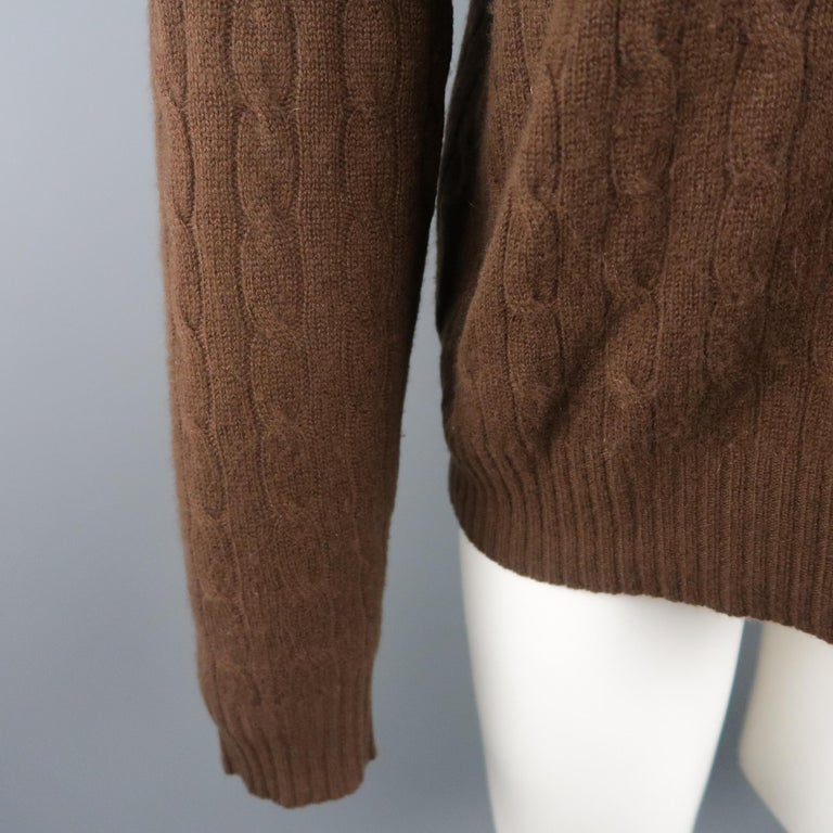 c2c4ecfcc6a RALPH LAUREN Size M Brown Cable Knit Cashmere Pullover Sweater In Excellent  Condition For Sale In