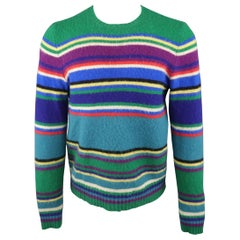 RALPH LAUREN Size M Green Multi-Color Stripe Wool Pullover Sweater