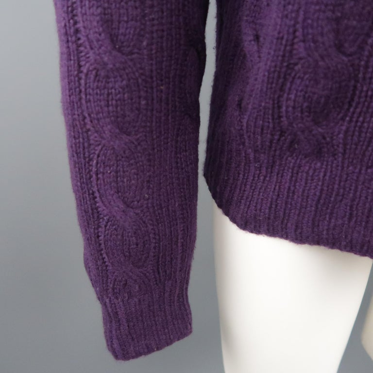 d4b65604b97 Black RALPH LAUREN Size M Muted Purple Cable Knit Cashmere Pullover Sweater  For Sale
