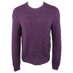 RALPH LAUREN Size M Muted Purple Cable Knit Cashmere Pullover Sweater