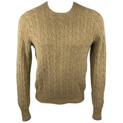 RALPH LAUREN Size M Olive Cable Knit Cashmere Crew-Neck Sweater