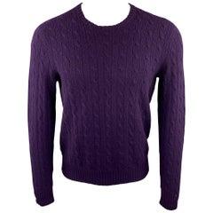 RALPH LAUREN Size M Purple Cable Knit Cashmere Crew-Neck Sweater