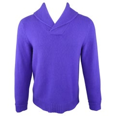 RALPH LAUREN Size M Purple Cashmere Shawl Collar Pullover Sweater