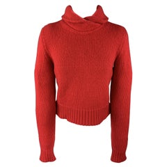 RALPH LAUREN Size M Red Cashmere / Wool Cropped Roll Neck Sweater