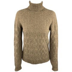 RALPH LAUREN Size M Taupe Knitted Cashmere Turtleneck Pullover