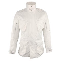 RALPH LAUREN Size M White Solid Polyester Zip & Snaps Jacket