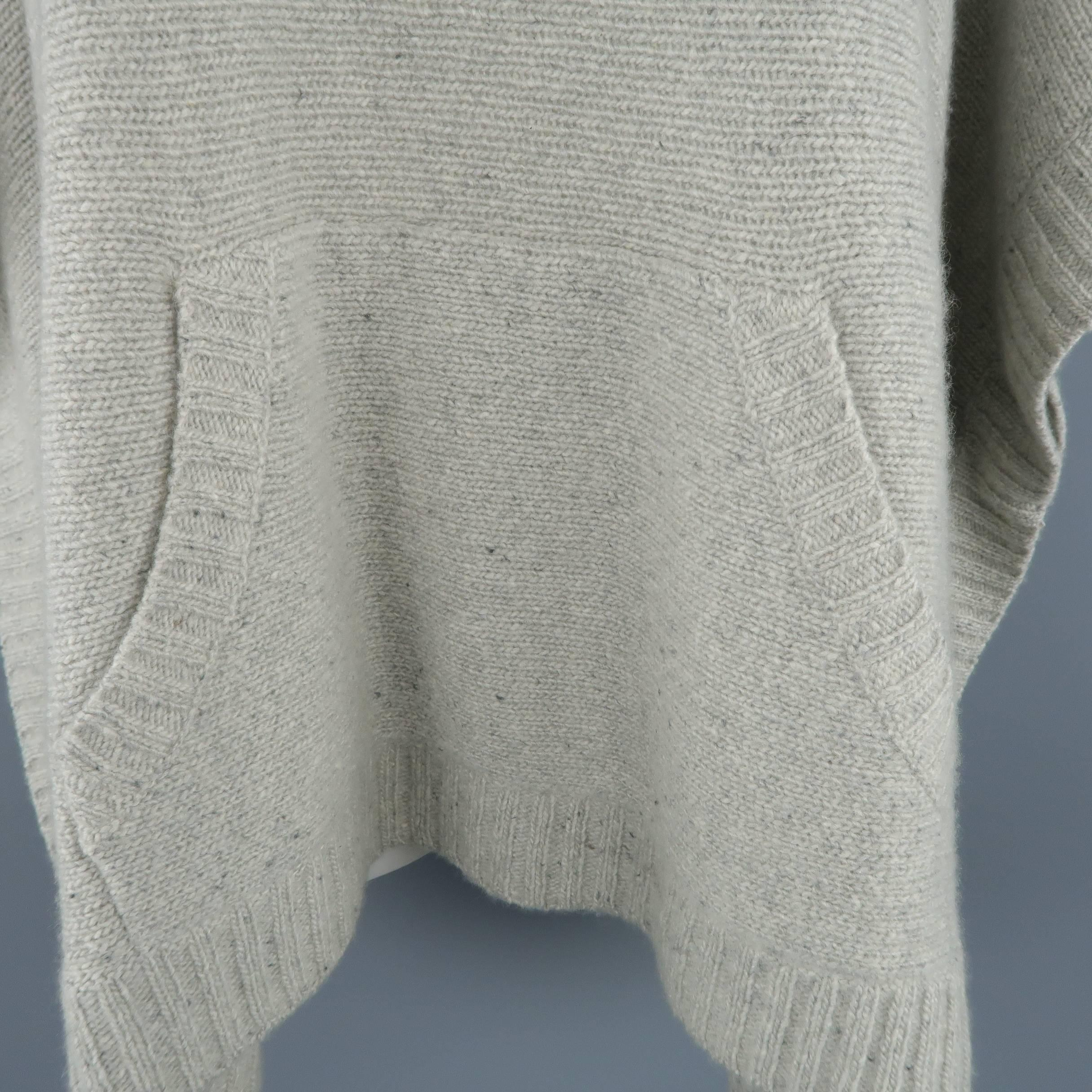 7c947426a Ralph Lauren Gray Cashmere Knit Hooded Poncho at 1stdibs