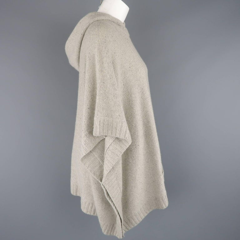 Ralph Lauren Gray Cashmere Knit Hooded Poncho For Sale 1