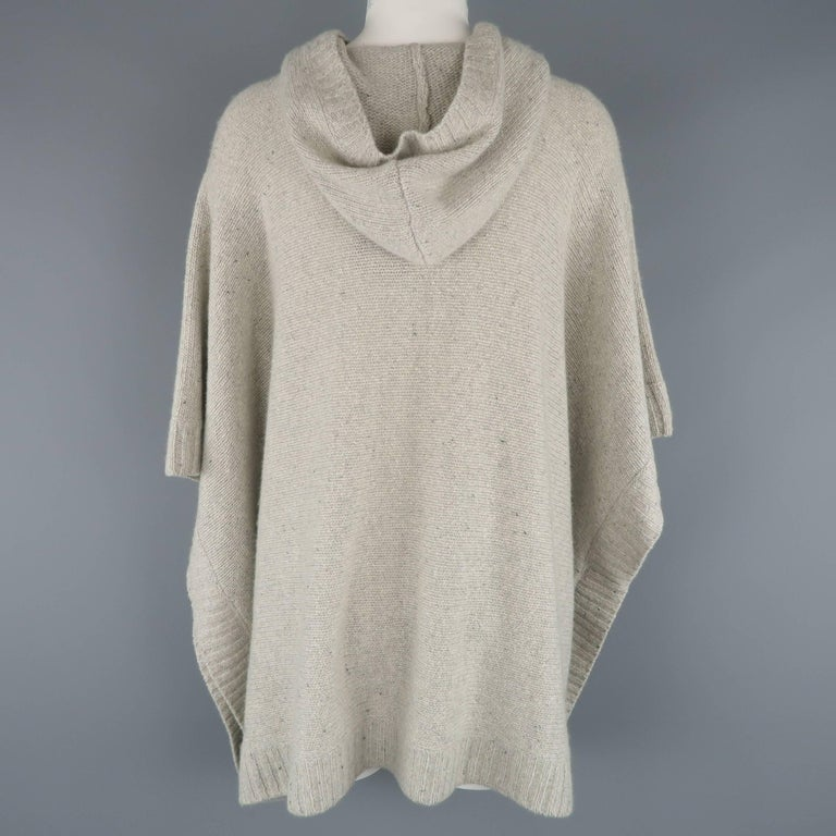 Ralph Lauren Gray Cashmere Knit Hooded Poncho For Sale 2