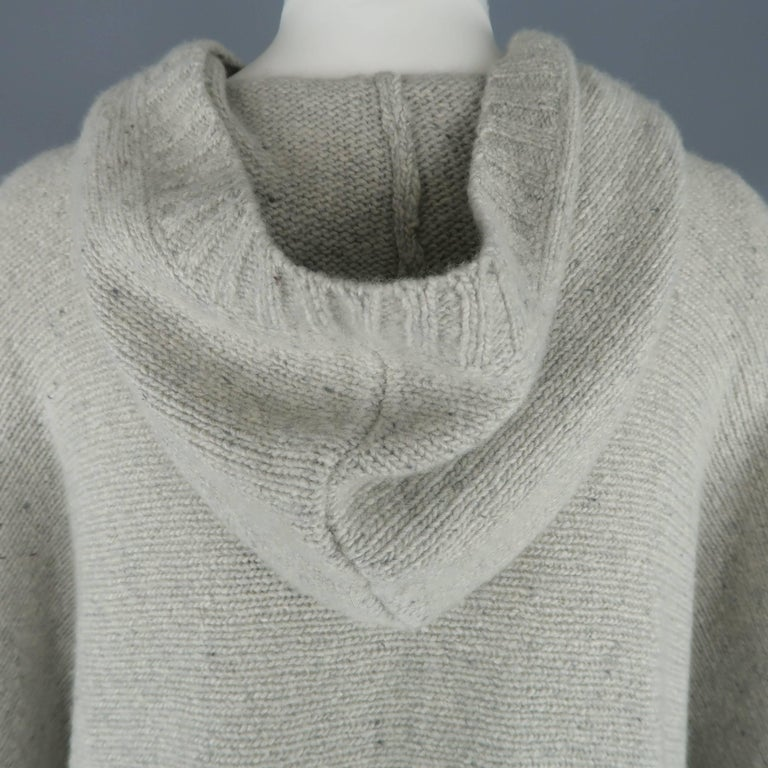Ralph Lauren Gray Cashmere Knit Hooded Poncho For Sale 3