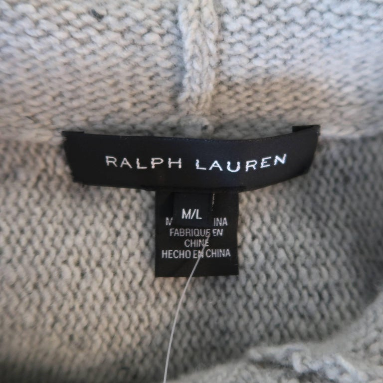 Ralph Lauren Gray Cashmere Knit Hooded Poncho For Sale 4