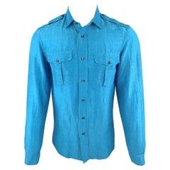 RALPH LAUREN Size S Aqua Linen / Silk Button Up Long Sleeve Shirt