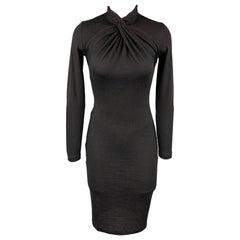 RALPH LAUREN Size S Black Knitted Cashmere High Collar Dress