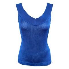 RALPH LAUREN Size S Blue Silk Knit V neck Sleeveless Top