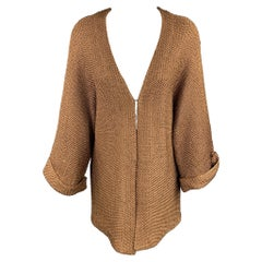 RALPH LAUREN Size S Copper Knitted Textured Silk Open Front Cardigan
