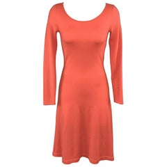 RALPH LAUREN Size S Coral Pink Cashmere Scoop Neck Long Sleeve Sweater Dress