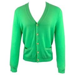 RALPH LAUREN Size S Green Cashmere Buttoned Cardigan