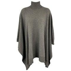 RALPH LAUREN Size S Grey Cashmere Turtleneck Cape