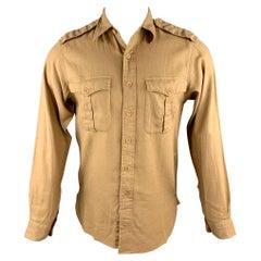 RALPH LAUREN Size S Khaki Linen / Cotton Button Up Long Sleeve Shirt