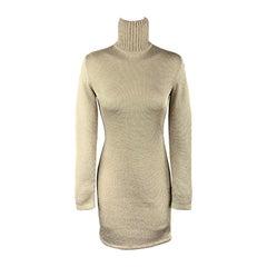 RALPH LAUREN Size S Metallic Gold Knit Turtleneck Sweater Cocktail Dress