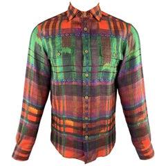 RALPH LAUREN Size S Multi-Color Plaid Linen Spread Collar Shirt